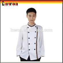 Custom poly cotton chef uniform restaurant short sleeve chef coat