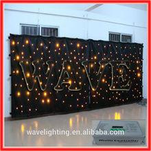 WLK-1Y Black fireproof Velvet cloth Yellow leds star curtain backdrop china star shop