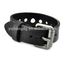 Jewelry Mens Unisex Buckle Adjustable Black Leather Bracelet