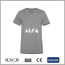 new low price organic 95% Cotton 5% Spandex gray men's custom tee shirts screen print
