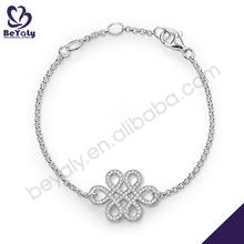 beleza nó design 925 esterlina pulseira de prata com diamantes