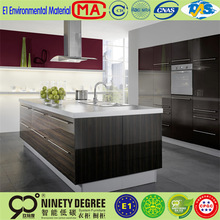 Rotatable Recessed lacquer paint and lacquer paint and wood veneer kitchen cabinet