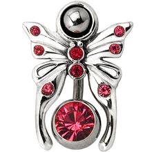 Rose Butterfly Gemstone Reverse Belly Ring