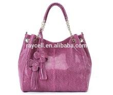 2014 china manufacturer lady leather handbag/ genuine cow hide snake fashion ladies handbag