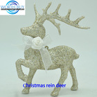 Christmas decorative golden deer ornament w/ ribbon scarf wholesale