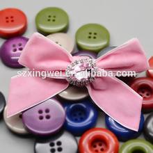 New arrive handmade satin ribbon flowers with big rhinestone diamond