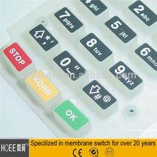 Non-tactile PET Damed Button Control Panel Etiqueta Da Borracha De Silicone