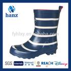 high quality half wellies girls stripe fashion rubber kids rain boot