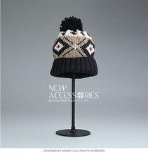 Pom jacquard mens knitting winter hats