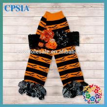 2014 Newest Christmas Pattern baby leg warmer Black &Orange with match headband Wholesale