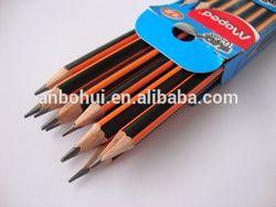 classical yellow & black striping hb pencil