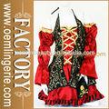 2014 nova chegada cosplay clássico vermelho e preto feminino traje pirata