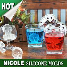 BC0058 skull silicone ice cube tray