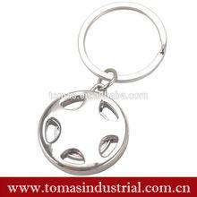 Custom Logo Keychain Metal Car Steering wheel Shaped Key Ring Die Cutting Metal Keychain