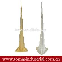 Popular customer design metal building souvenir gold color dubai tour souvenir metal dubai tower