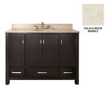American Style Solid Wood Bathroom Vanity Base,Oak Bathroom Cabinets with Galala Beige Marble Vanity Tops