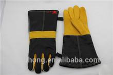 welding glove, red shoulder split, full sock lined leather welding gloves EN388