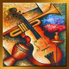 Wholesale Handmade Modern Abstract Musical Instrument Canvas Painting