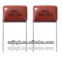 JH High quality Metallized polypropylene film capacitor(Dipped), CBB21 155K/250V