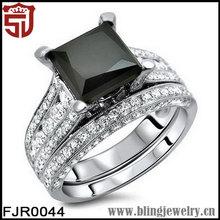 BLINGJEWELRY Black CZ Women Wedding 925 Silver Princess Ring Sets