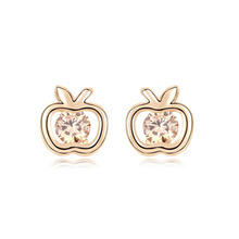 Apple Design Zircon Earring in Round Shape gold earring designs