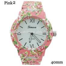 latest fashion wholesale flower print watch Geneva for ladies Flower Watch