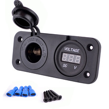 2 in 1 Waterproof Motorbike Motorcycle Car Cigarette Lighter Socket Adapter Power Outlet Plug And Voltmeter Socket