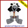 Hot sell fleece santa Dog Black and White Plush christmas pet clothes with panda hat