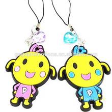 3D cute animal soft pvc key chain/mobile phone strap decoration