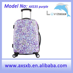 ABS waterproof oil proof ABS+PC travel trolley hard shell zipper printing promotion gift cheap customized luggage in 20, 24, 28