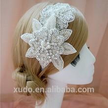latest high end making design wedding bridal headband crystal flower tiara headband wholesale
