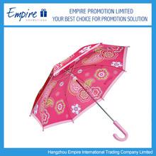 Fashin Pattern Pink Ladies Curved Handle Fashion Folding Umbrella