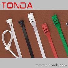 Releasable plastic cable tie