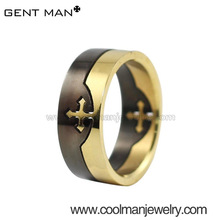 Black and Gold two rings conbined cross design can be departed/Men's Titanium rings/Skull titanium ring