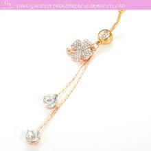 14 Gauge Gold Flower Clear Cubic Zirconia Chain Dangle Gemstones piercing best friend belly rings wholesale