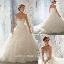 JM.Bridals WD003 Exquisite Ball gown Beaded Pearls Ruffles Organza Long train 2015 wedding dresses designers