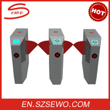 RFID Security entrance automatic flap turnstiles gate / rfid barrier access control system