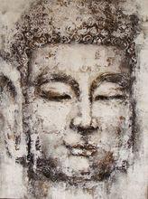 Antique Framed handmade buddha oil painting on canvas