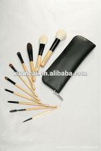 pruple handle 18pcs cosmetic brush set with bag match PU bag