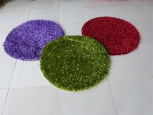 Chinese knot plain polyester super shaggy round rug