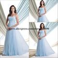 trägerlosen Reich Taille ice blue knöchel länge weibliche Abend kleid 2014 schönste kleid