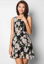 2014 New Women Sleeveless Fit&Flare Black Floral Dress