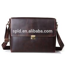 Retro business briefcase shoulder messenger baggenuine leather handbag men