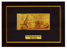 Australia Note Gold 99.9 Banknotes Newest 5 Dollars 24k Gold Banknote With Certificate On Black Wooden Frame