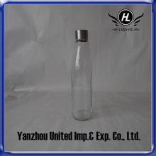 Botella de agua cristal con cubierta de acero inoxidable