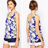 High quality floral print and curved hem sleeveless latest design girls top
