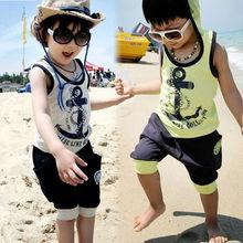 Summer 2pcs Boys Suit Children Clothes Kids Set T shirt + Cell Harem Pants Shorts SV001677#