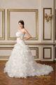 Simple sin tirantes falda de organza de larga cola de vestido de novia blanco 2015 cordón- up plus tamaño de importación de vestidos de novia baratos al por mayor de china