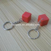 customized acrylic keychains, 3d blank red acrylic keyrings, cube acrylic key chasins on whole sale