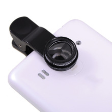 Newest Triangular Prism Lens with Clip for Mobile Phone Camera Tablet PC Silver and Black